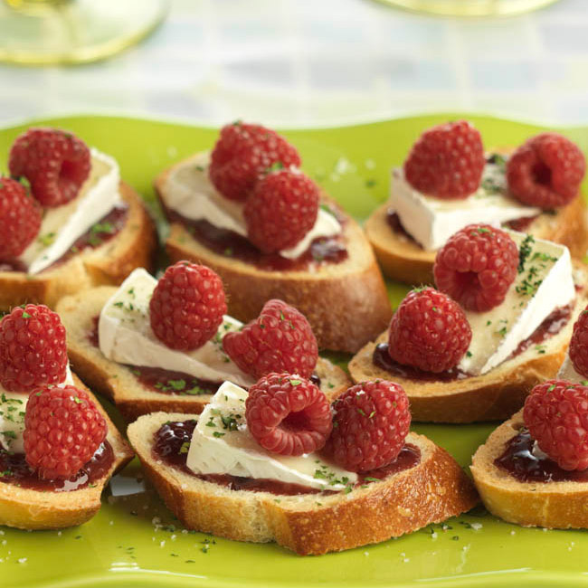 Raspberry and Brie Crostini